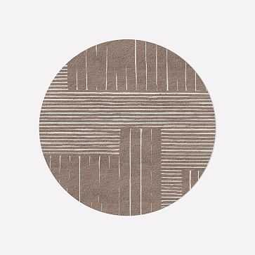 MTO Painted Mixed Stripes Rug, Rosette, 6' Round - West Elm
