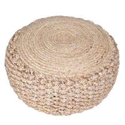 Criss Knit Hemp Natural Round 20 in. x 10 in. Indoor Floor Pouf - Home Depot