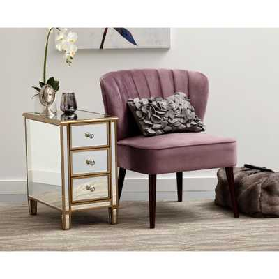 Home Meridian Channeled Back Armless Luxor Lilac Purple Accent Chair - Home Depot
