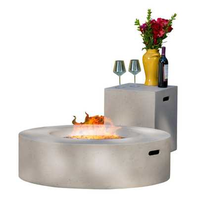 Noble House Aidan 39 in. x 11.47 in. Round MGO Gas Fire Pit Table in Light Grey 50,000 BTU with Tank Holder - Home Depot