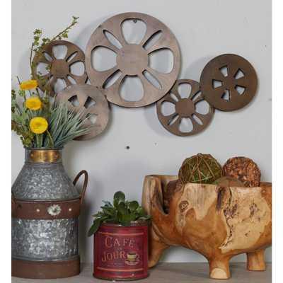 Iron Bronze Movie Reel Metal Work - Home Depot