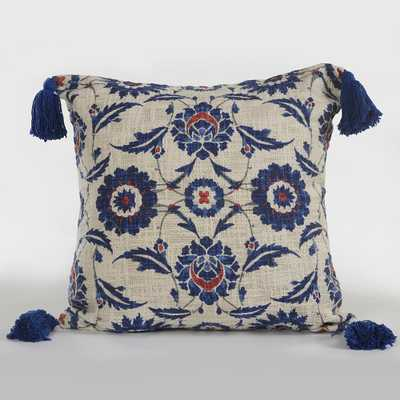 18 in. x 18 in. Floral Paradise Navy / Beige (Blue/Beige) Suzani Throw Pillow - Home Depot
