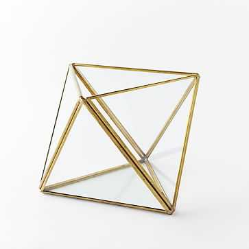 Faceted Terrarium, Large, Gold - West Elm