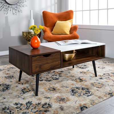 Wood and Faux Marble Coffee Table Dark Walnut - Saracina Home - Target