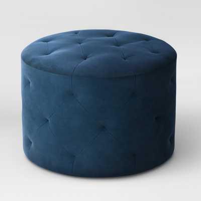 Caroline Tufted Ottoman Velvet Navy (Blue) - Threshold - Target