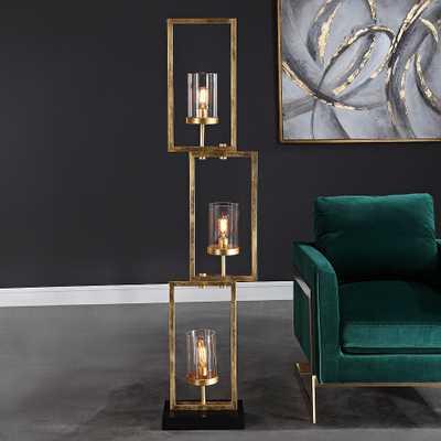 Uttermost Cielo Antique Gold Leaf 3-Light Floor Lamp - Style # 66F29 - Lamps Plus
