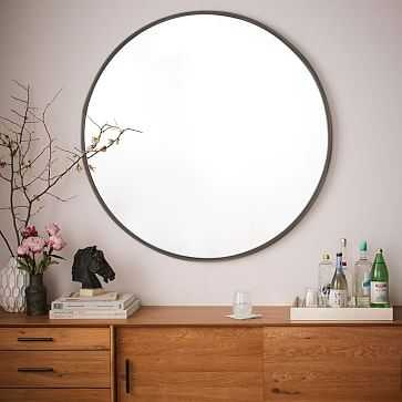 "Metal Framed Oversized Round Mirror, Antiqued Bronze / 48""Dia - West Elm"