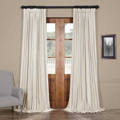 Exclusive Fabrics & Furnishings Off White Blackout Extra Wide Vintage Textured Faux Dupioni Curtain - 100 in. W x 84 in. L - Home Depot