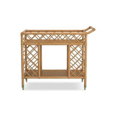 AERIN Bar Cart, Rattan, Natural Brass - Williams Sonoma