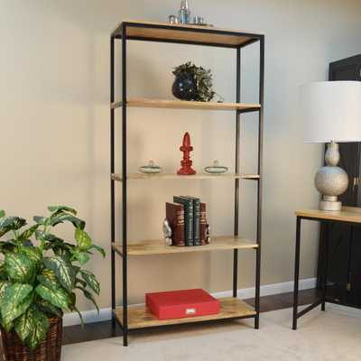 Brayden Natural Open Bookcase, Natural Selves/Powder Coated Textured Black Finished Metal Frame - Home Depot