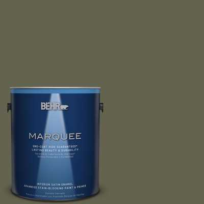 BEHR MARQUEE 1 gal. #N350-7 Russian Olive One-Coat Hide Satin Enamel Interior Paint - Home Depot