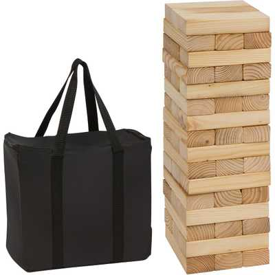48-Piece 1.5 ft. Tall Giant Wooden Stacking Puzzle Game with Carry Case - Home Depot