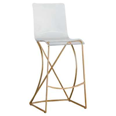 Johnah Modern Classic Clear Acrylic Seat Gold Metal Base Bar Stool - Kathy Kuo Home
