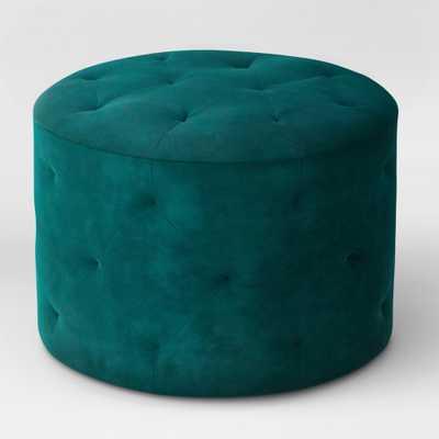 Caroline Tufted Ottoman Velvet Teal (Blue) - Threshold - Target