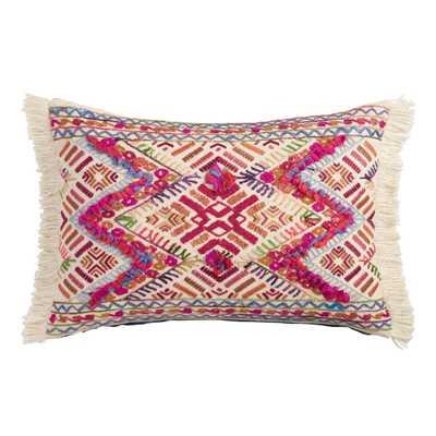 Multicolored Zigzag Fringe Lumbar Pillow: Pink - Cotton by World Market - World Market/Cost Plus