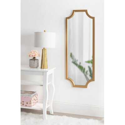 Surbit Wood Framed Full-length Wall Mirror with Scallop Corners, 18x48 Inches, Gold - Wayfair
