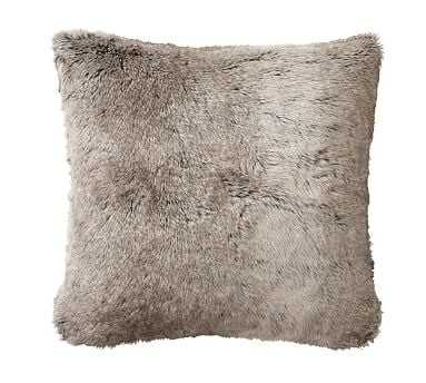"Faux Fur Pillow Cover, 18"", Gray Ombre - Pottery Barn"