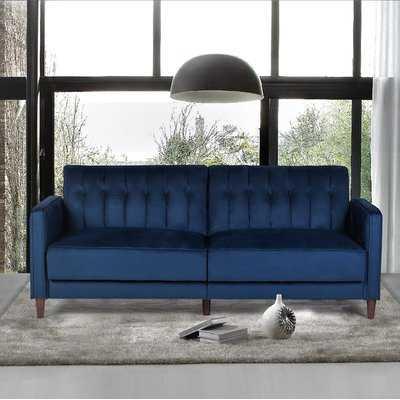 """Cornell Velvet 81"""" Square Arms Sofa Bed - Wayfair"""