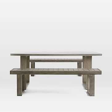 Concrete Outdoor Dining Table + Portside Benches Set, Weathered Gray - West Elm