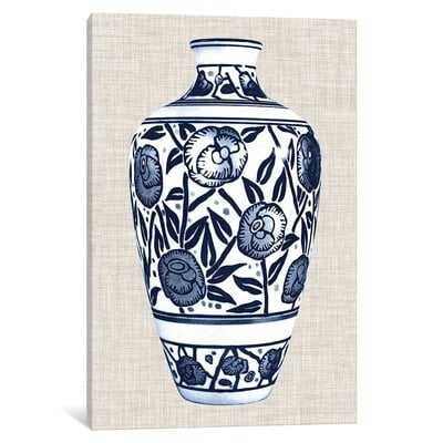 'Blue & White Vase IV' Graphic Art Print on Canvas - Wayfair