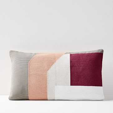 "Corded Geo Block Pillow Cover, Brick Dust, 12""x21"" - West Elm"