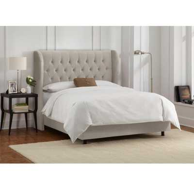 Skyline Furniture Hdc Velvet Light Grey King Tufted Wingback Bed - Home Depot