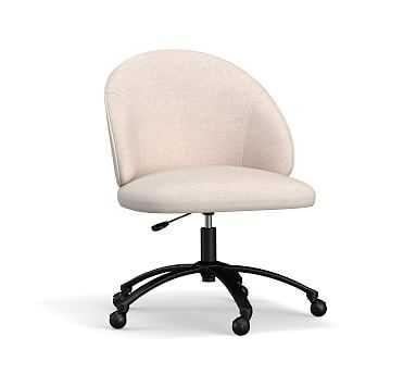 Ryker Upholstered Desk Chair, Bronze Swivel Base, Performance Heathered Tweed Ivory - Pottery Barn