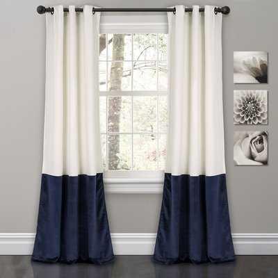 Lucille Floral Solid Color Room Darkening Thermal Grommet Curtain Panels (Set of 2) - Birch Lane