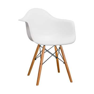 Mod Made Paris Tower Dining White Arm Chair with Wood Legs (Set of 2) - Home Depot
