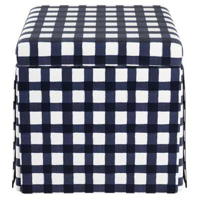 Carla Skirted Storage Ottoman Blue Check - Cloth & Co. - Target