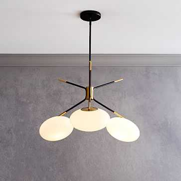 Champignon 3-Light Chandelier, Milk Glass, Antique Brass - West Elm