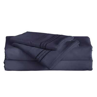 Angeland Vienne 4-Piece Navy Blue Microfiber Full Sheet Set - Home Depot