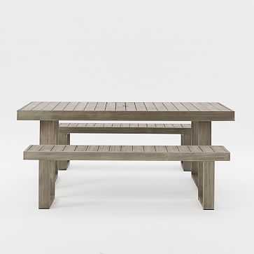 "Portside Dining Table Set: 76.5"" Table + Two 66"" Benches, Weathered Gray - West Elm"