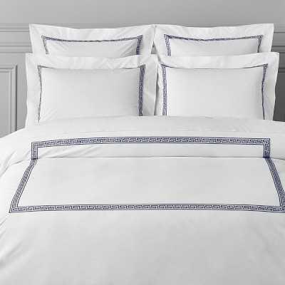 Greek Key Bedding Duvet Cover, Full/Queen, Navy - Williams Sonoma