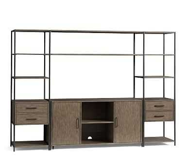 Ramsey Entertainment Center with Doors (2 Towers, 1 Media Console, 2 Long Shelves), Earl Gray - Pottery Barn