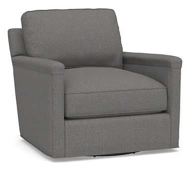 Tyler Square Arm Upholstered Swivel Armchair without Nailheads, Polyester Wrapped Cushions, Performance Brushed Basketweave Slate - Pottery Barn