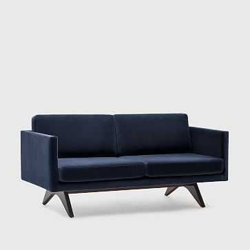 "Brooklyn 74"" Sofa, Velvet, Navy Walnut - West Elm"