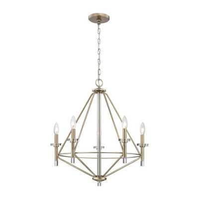 Titan Lighting Lacombe 5-Light Aged Silver with Clear Glass Accents Chandelier - Home Depot