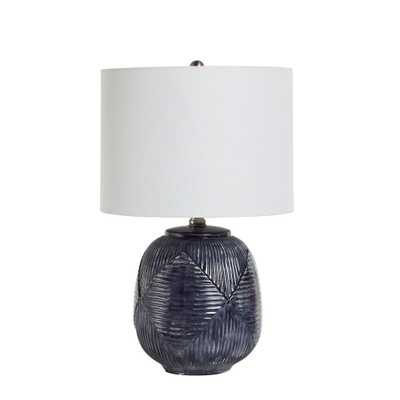 Silverwood 19 in. Blue Ceramic Table Lamp with Shade - Home Depot