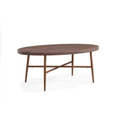 Miami Brown Oval Cocktail Table with Brown Metal Legs, Dark Brown Oak - Home Depot