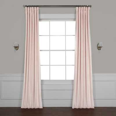 Exclusive Fabrics & Furnishings Ballet Pink Plush Velvet Curtain - 50 in. W x 108 in. L - Home Depot