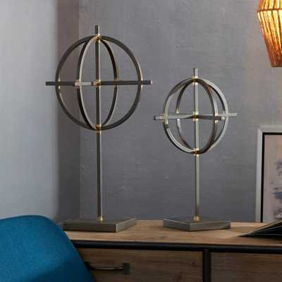 Silverwood Freemont Black Round Orbs on Stands (Set of 2), Blact Pewter And Gold - Home Depot