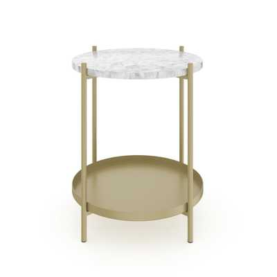 Nathan James Alexis White Faux Marble with Gold Brass Metal Frame Round End Side Table, White/Gold - Home Depot