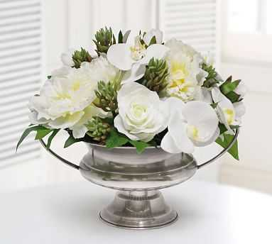 Faux Orchid And Succulent In Silver Bowl - Pottery Barn