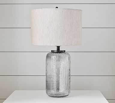 Alana Luster Glass Cylinder Table Lamp, Indigo Base with Small Straight Sided Linen Drum Shade, Flax Linen - Pottery Barn