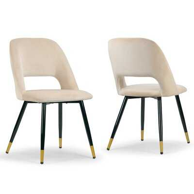 Set Of 2 Ania Beige Velvet Dining Chair With Golden Accented Metal Legs - Wayfair