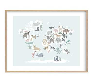 Wild World Map Wall Art by Minted(R), 40x30, Natural - Pottery Barn Kids