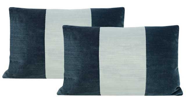 """Lumbar Set :: Strie Velvet // Harbour Blue + Spa Blue - 12"""" X 18"""" - Little Design Company"""