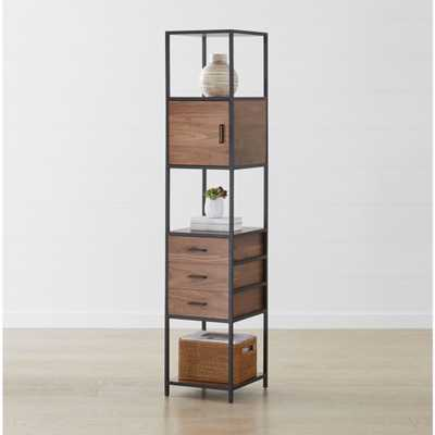 Knox Black Tall Narrow Storage Bookcase - Crate and Barrel