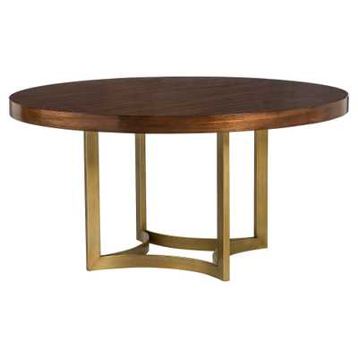 Resource Decor Ashton Modern Brushed Gold Round Wood Dining Table - Kathy Kuo Home
